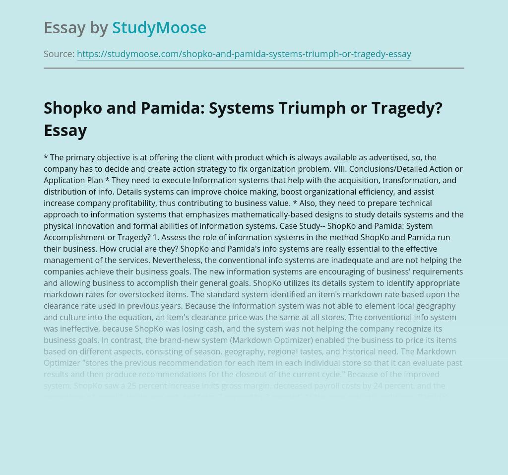 Shopko and Pamida Information Systems