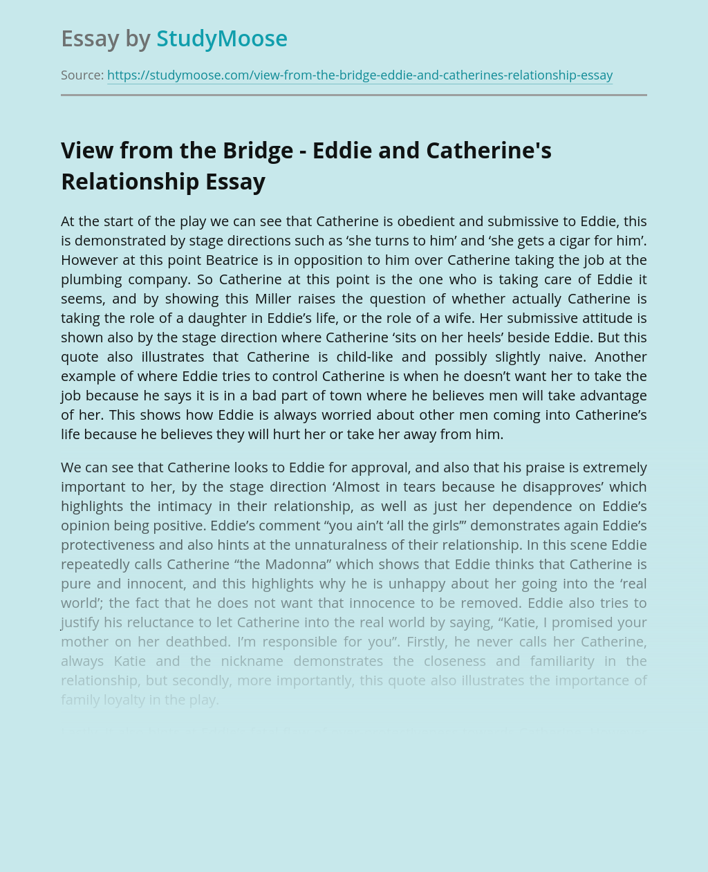View from the Bridge - Eddie and Catherine's Relationship