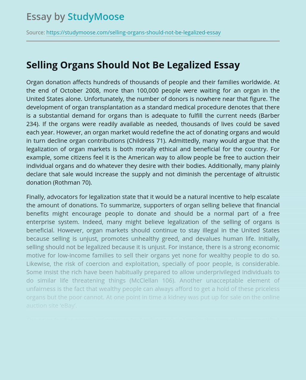 Organ Donation and Selling