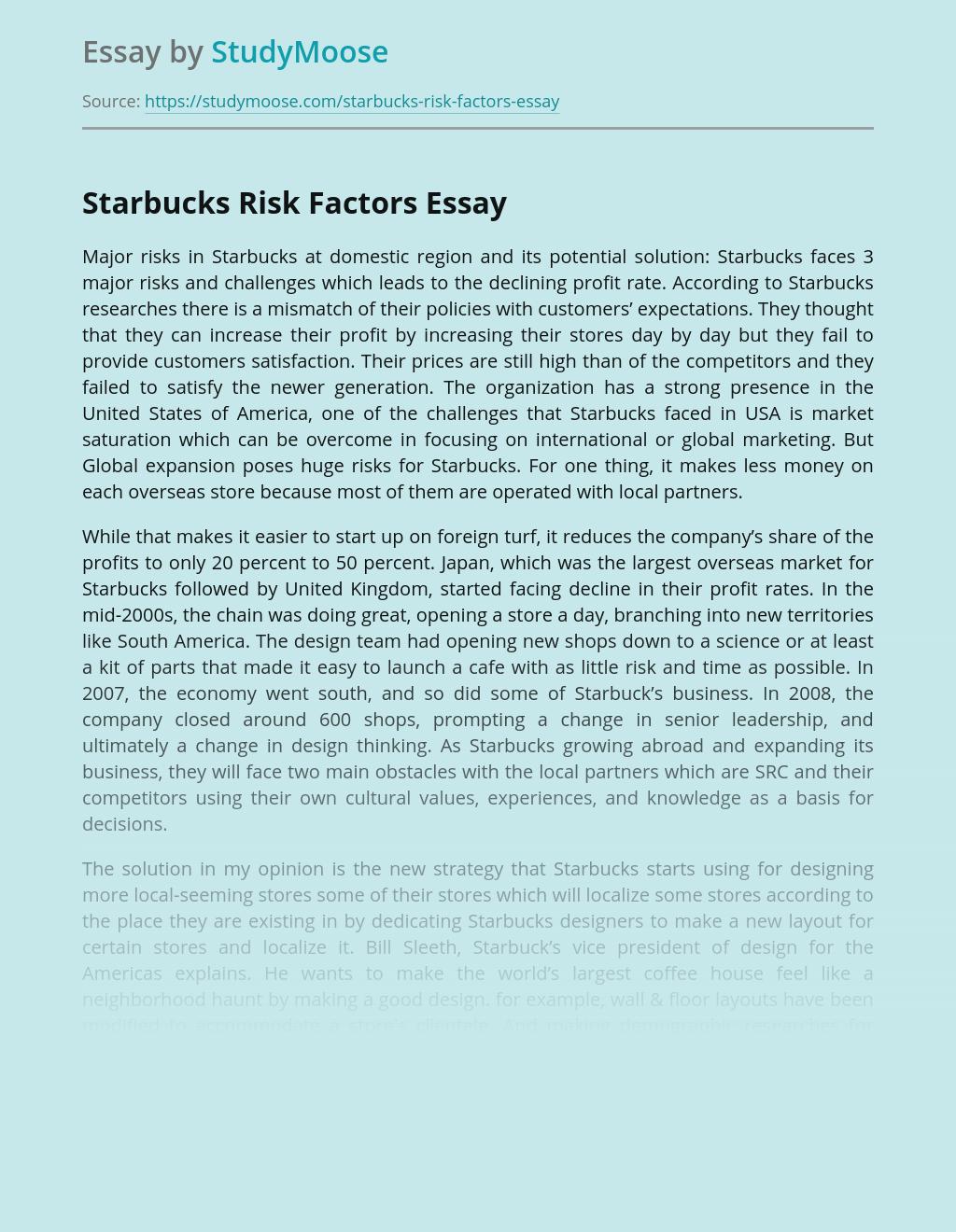 Risk Factors of Starbucks Global Marketing