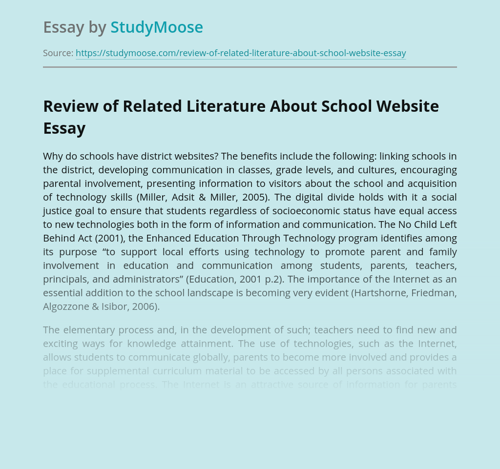 Review of Related Literature About School Website
