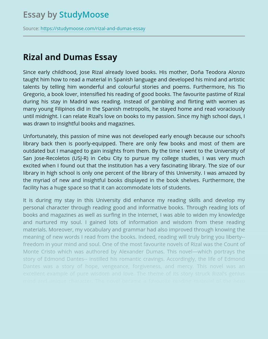 Jose Rizal and Alexandre Dumas