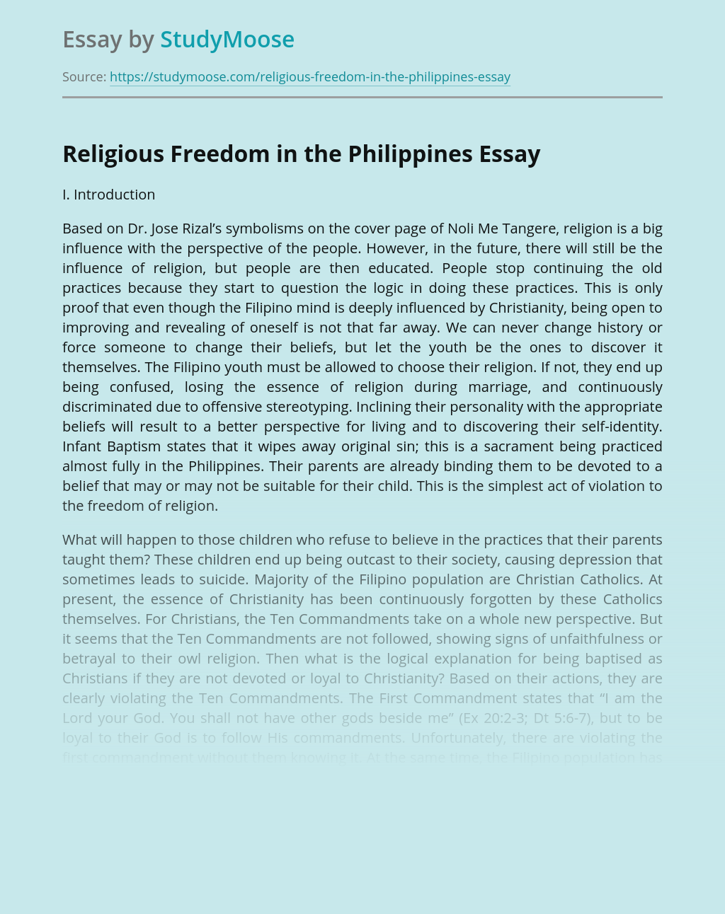Religious Freedom in the Philippines