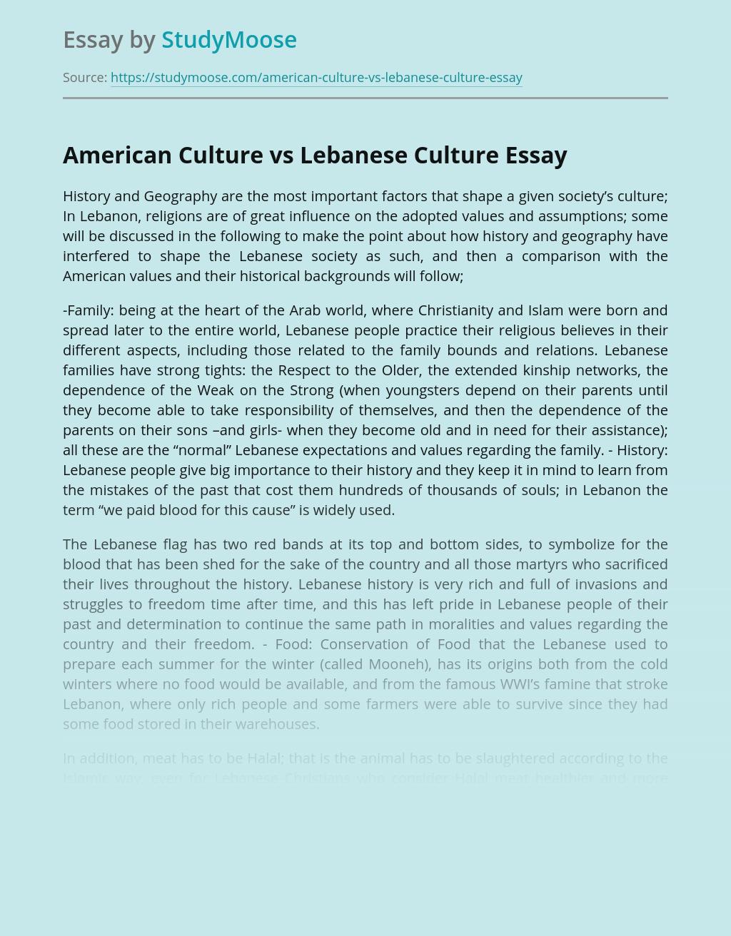 American Culture vs Lebanese Culture