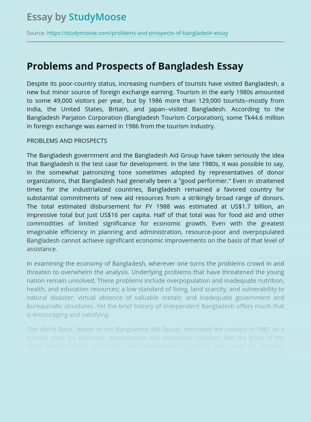 Problems and Prospects of Bangladesh