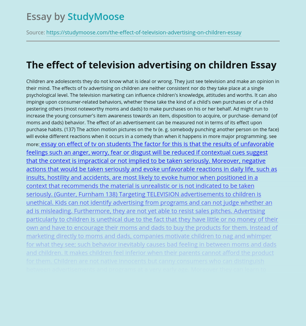 The effect of television advertising on children
