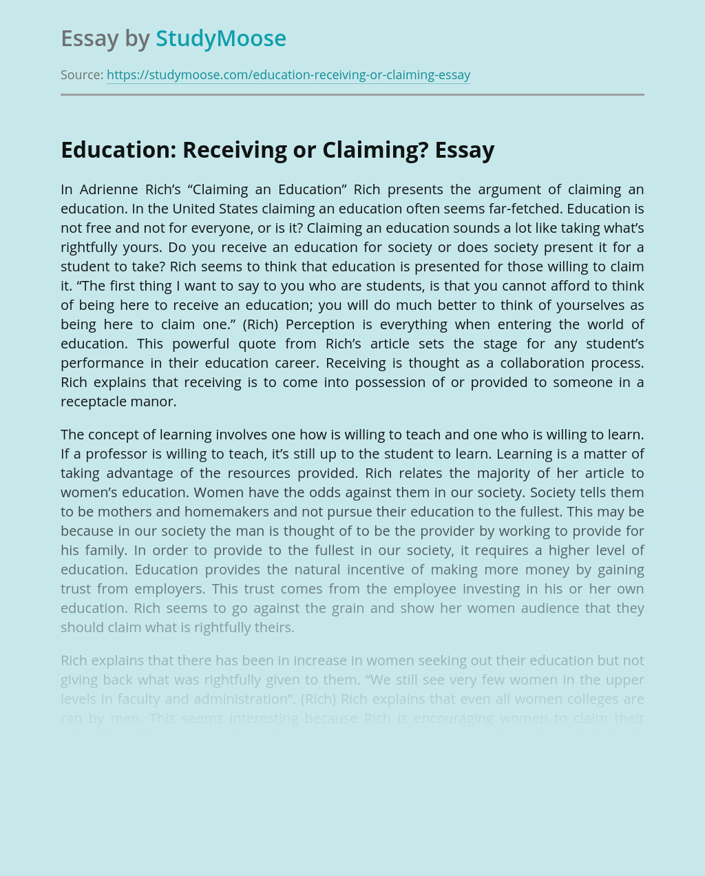 Education: Receiving or Claiming?