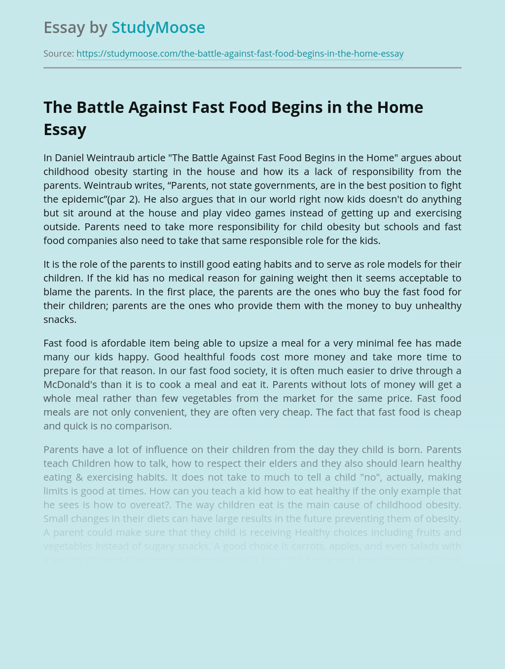 The Battle Against Fast Food Begins in the Home
