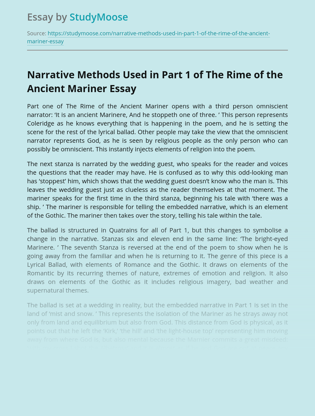 Narrative Methods Used in Part 1 of The Rime of the Ancient Mariner