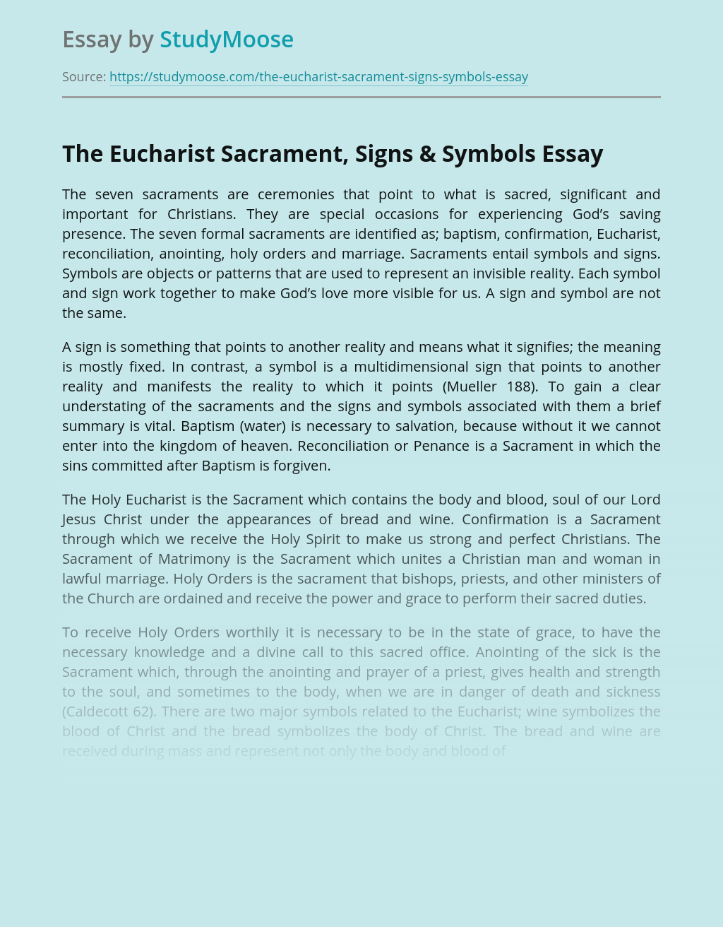 The Eucharist Sacrament, Signs and Symbols in Christianity