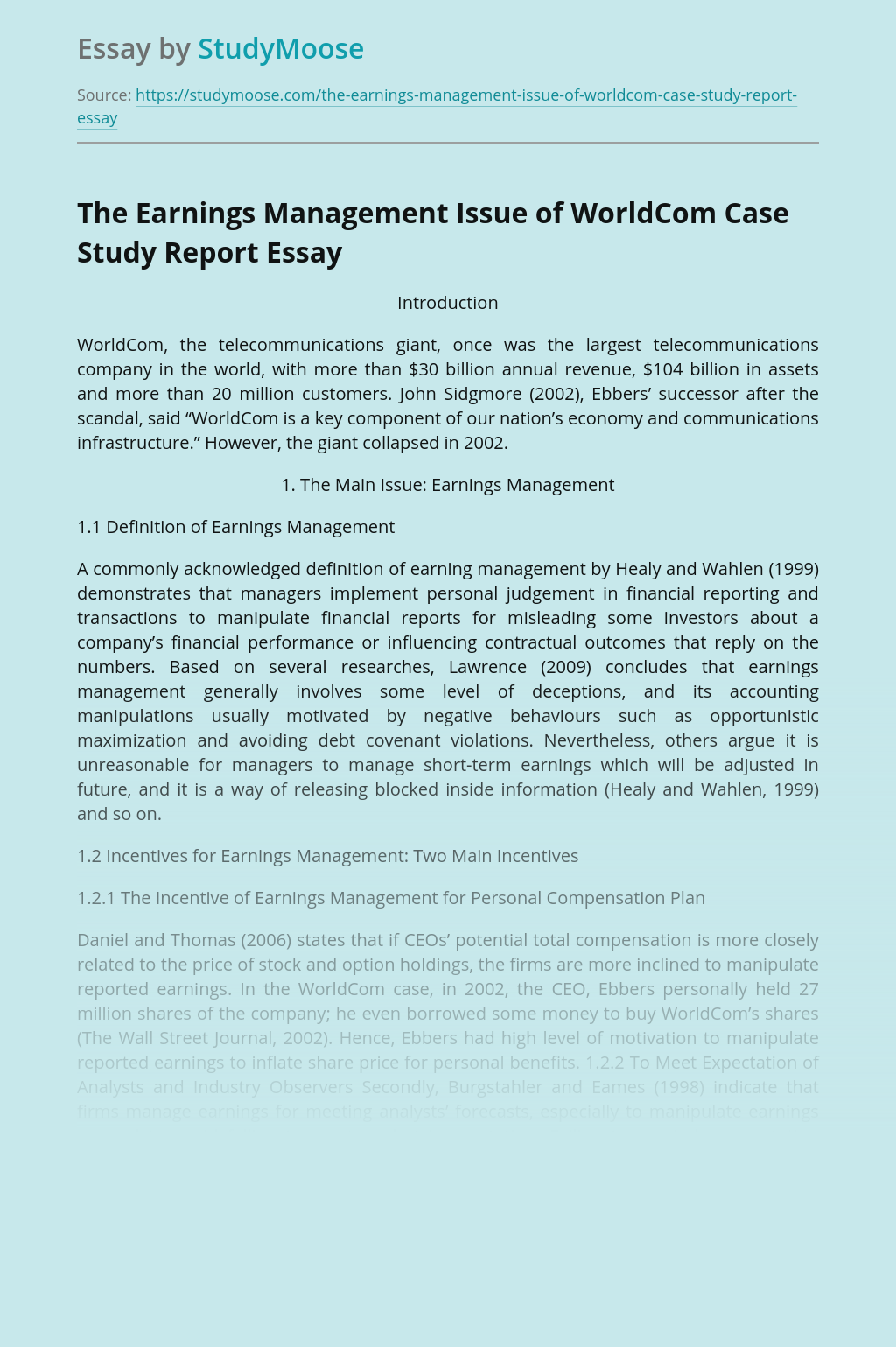 The Earnings Management Issue of WorldCom Case Study Report