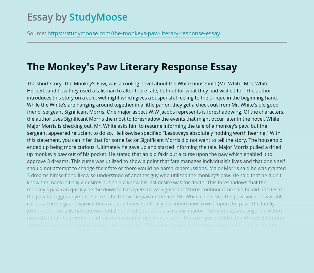 The Monkey's Paw Literary Response