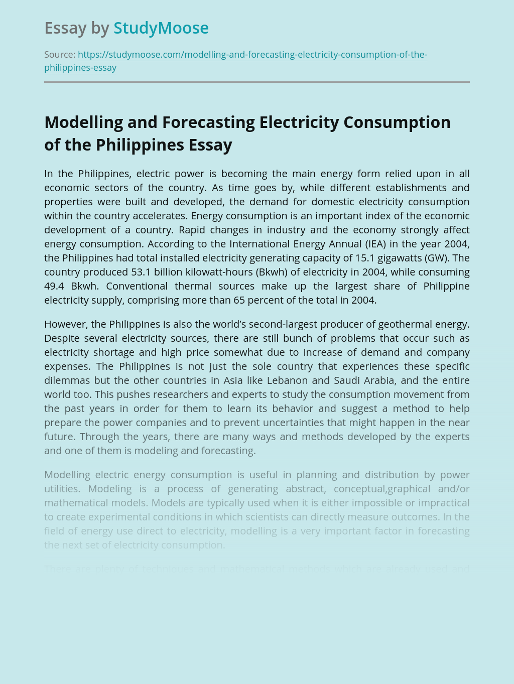 Modelling and Forecasting Electricity Consumption of the Philippines