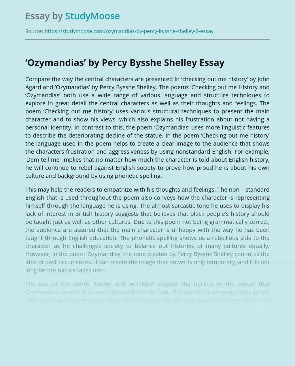 A Poem Ozymandias by Percy Bysshe Shelley