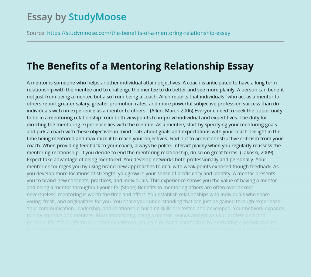 The Benefits of a Mentoring Relationship