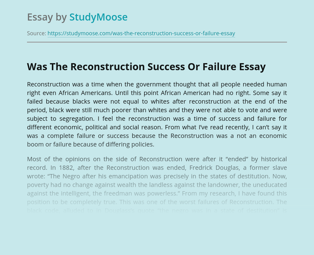 Was The Reconstruction Success Or Failure