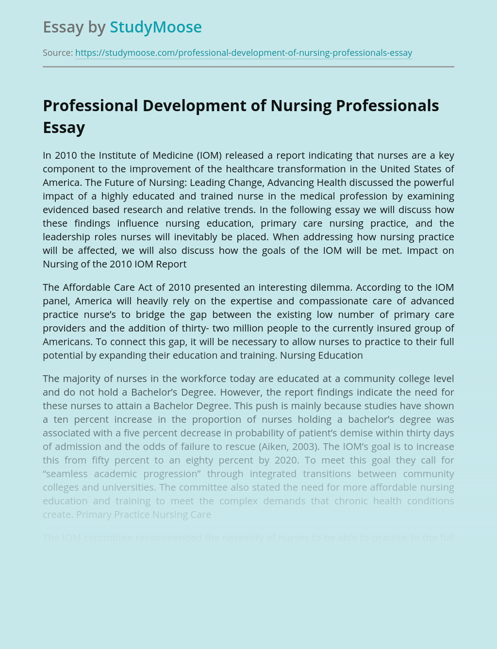 Professional Development of Nursing Professionals