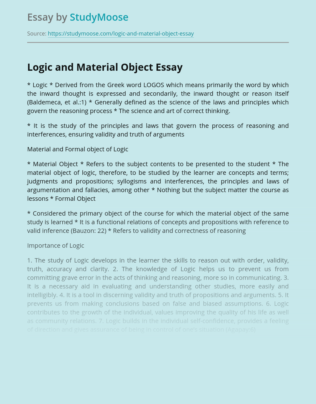 Logic and Material Object