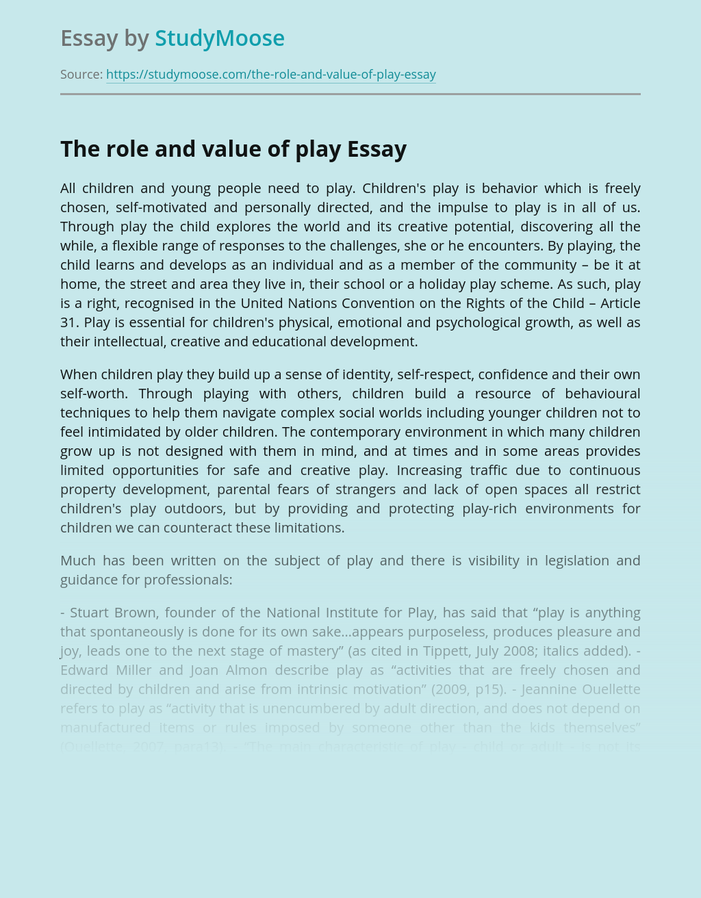 ?The Role and Value of Play in Education