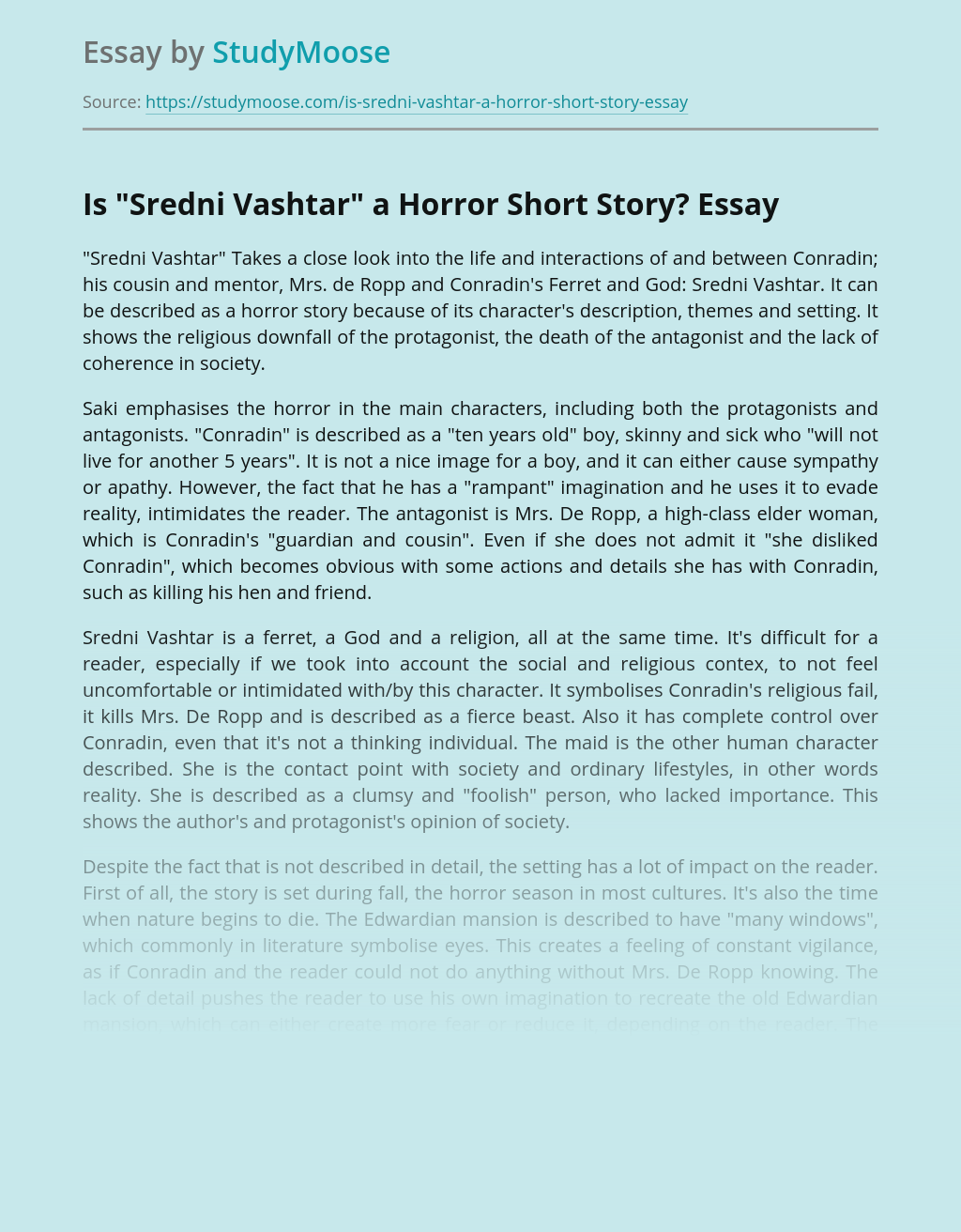 "Is ""Sredni Vashtar"" a Horror Short Story?"