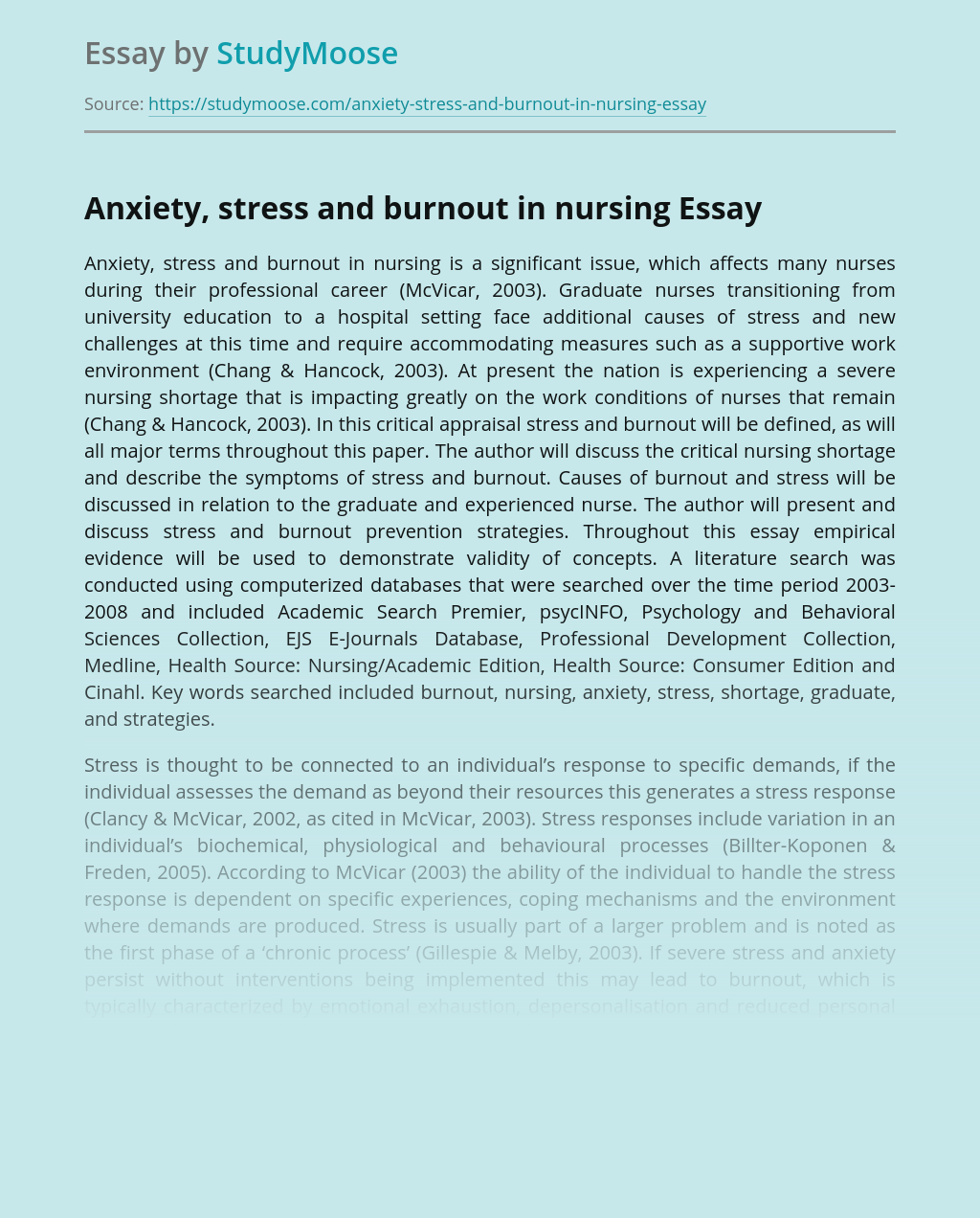 Anxiety, stress and burnout in nursing