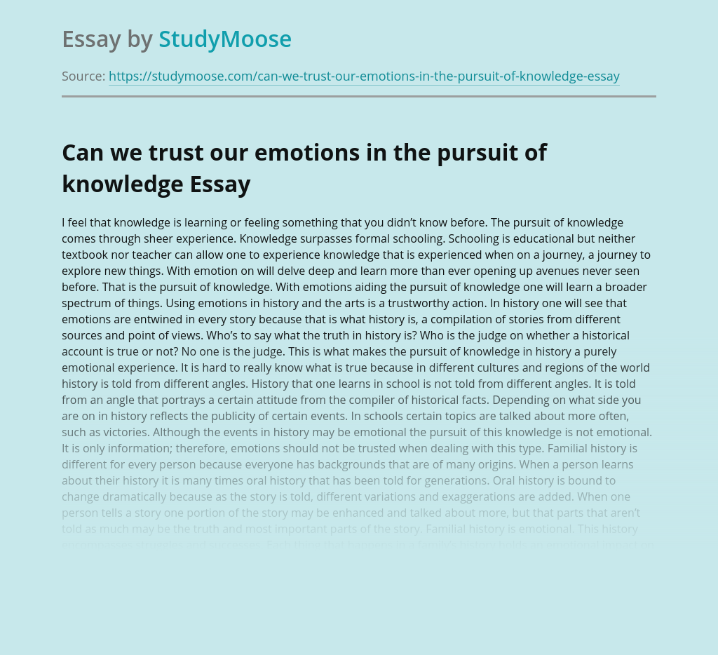 Can we trust our emotions in the pursuit of knowledge