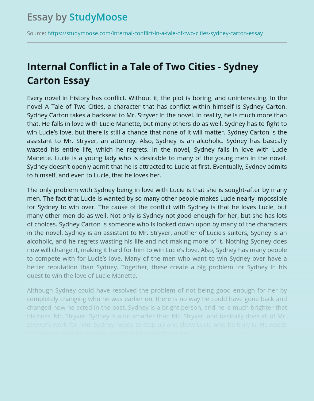 Internal Conflict in a Tale of Two Cities - Sydney Carton
