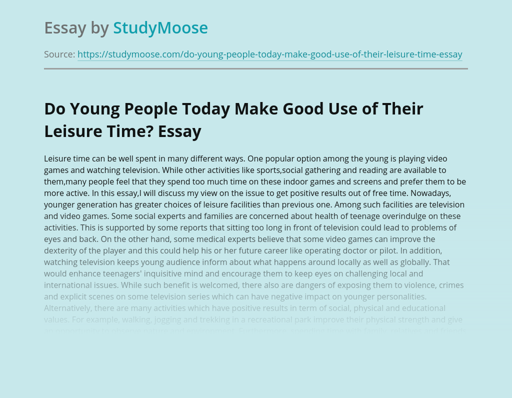 Do Young People Today Make Good Use of Their Leisure Time?