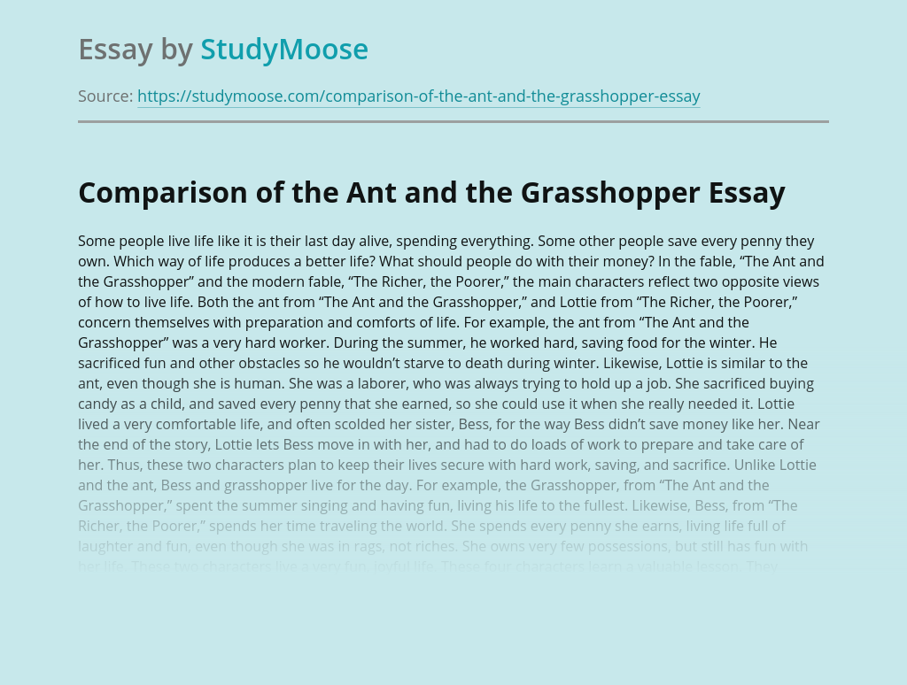 Comparison of the Ant and the Grasshopper