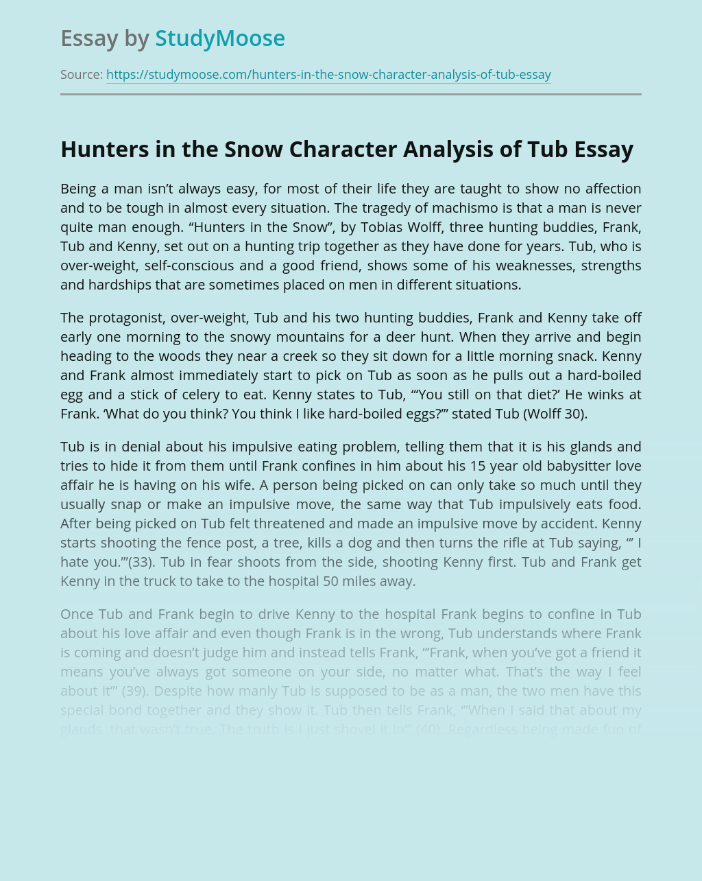 Hunters in the Snow Character Analysis of Tub