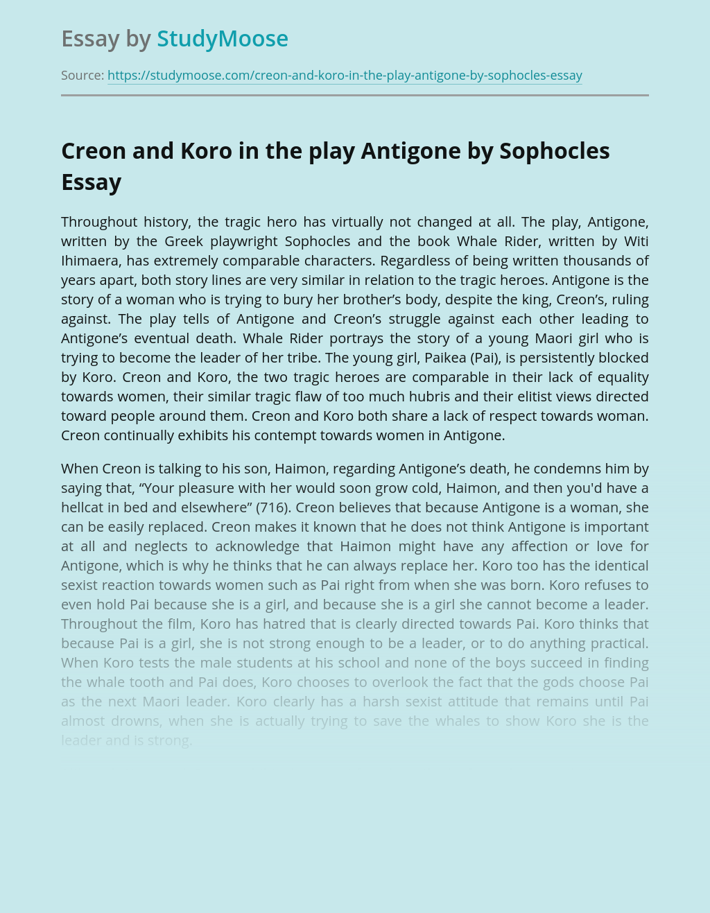 Creon and Koro in the play Antigone by Sophocles