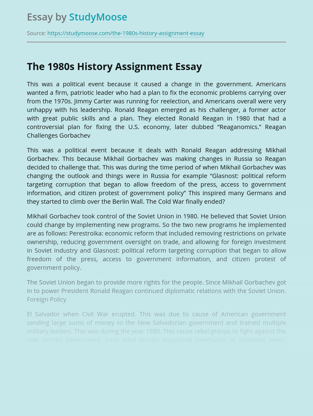 The 1980s History Assignment