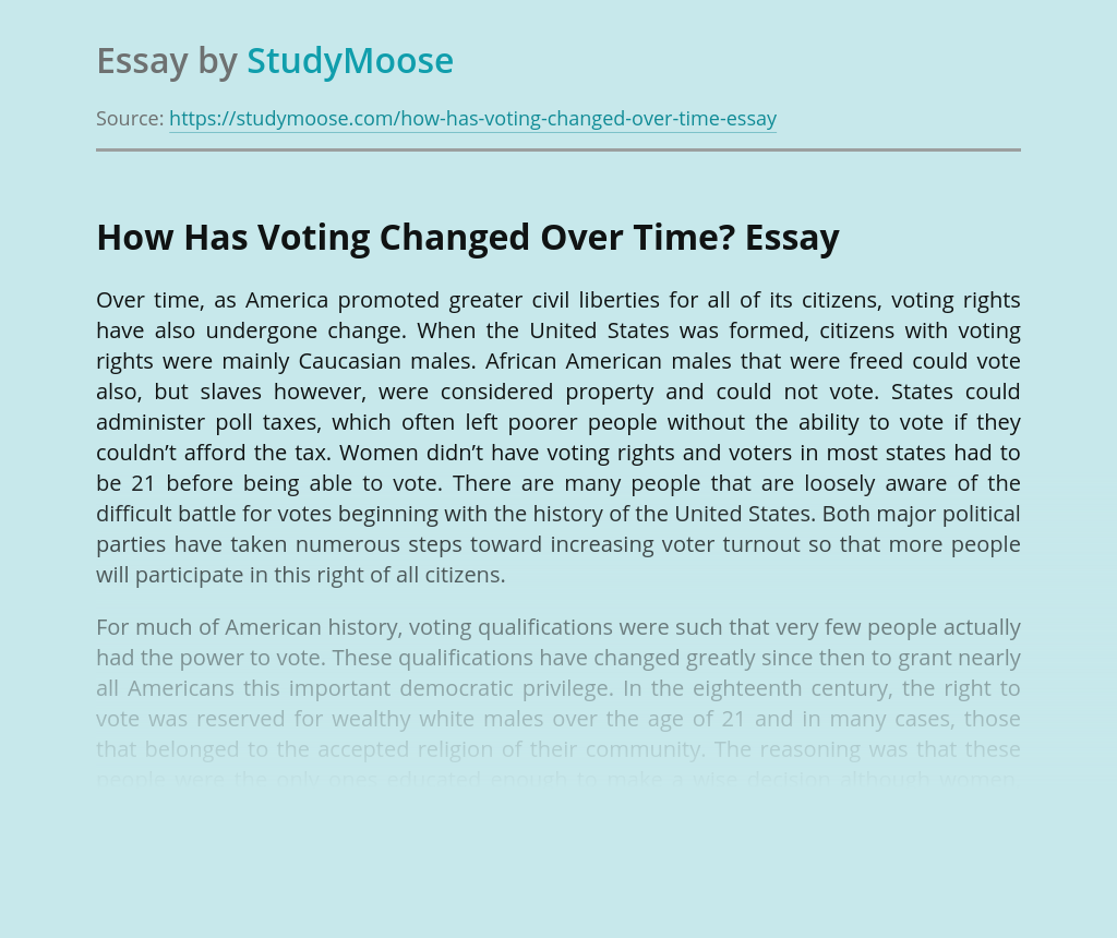 How Has Voting Changed Over Time?