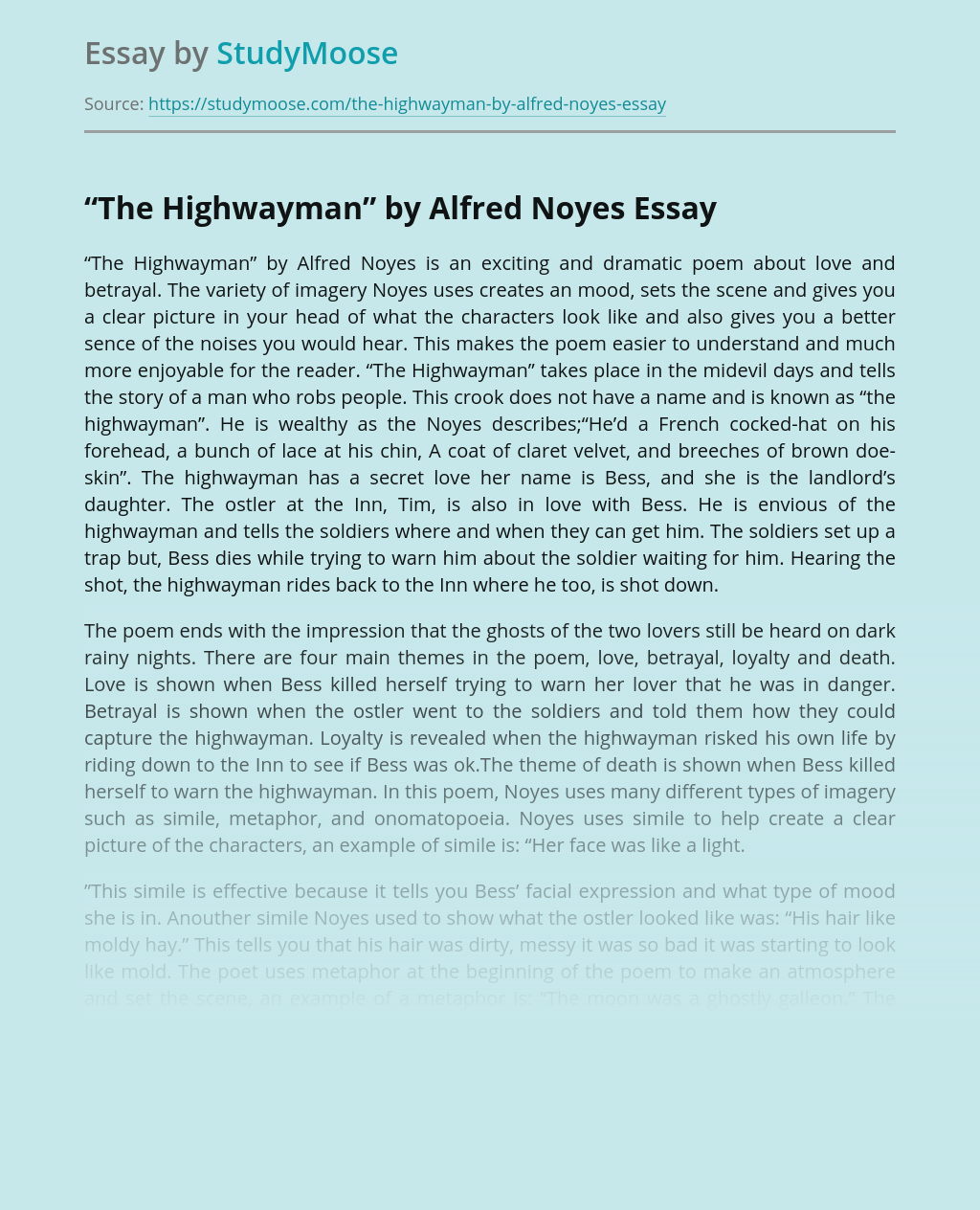 """""""The Highwayman"""" by Alfred Noyes"""