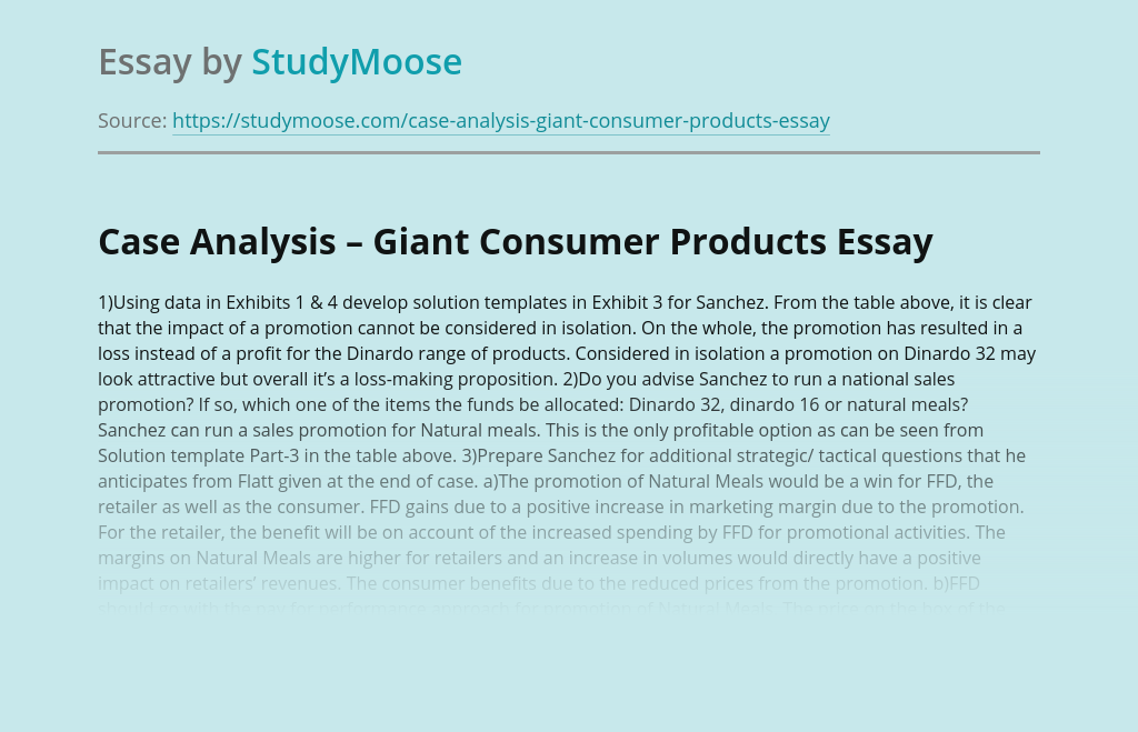 Case Analysis – Giant Consumer Products