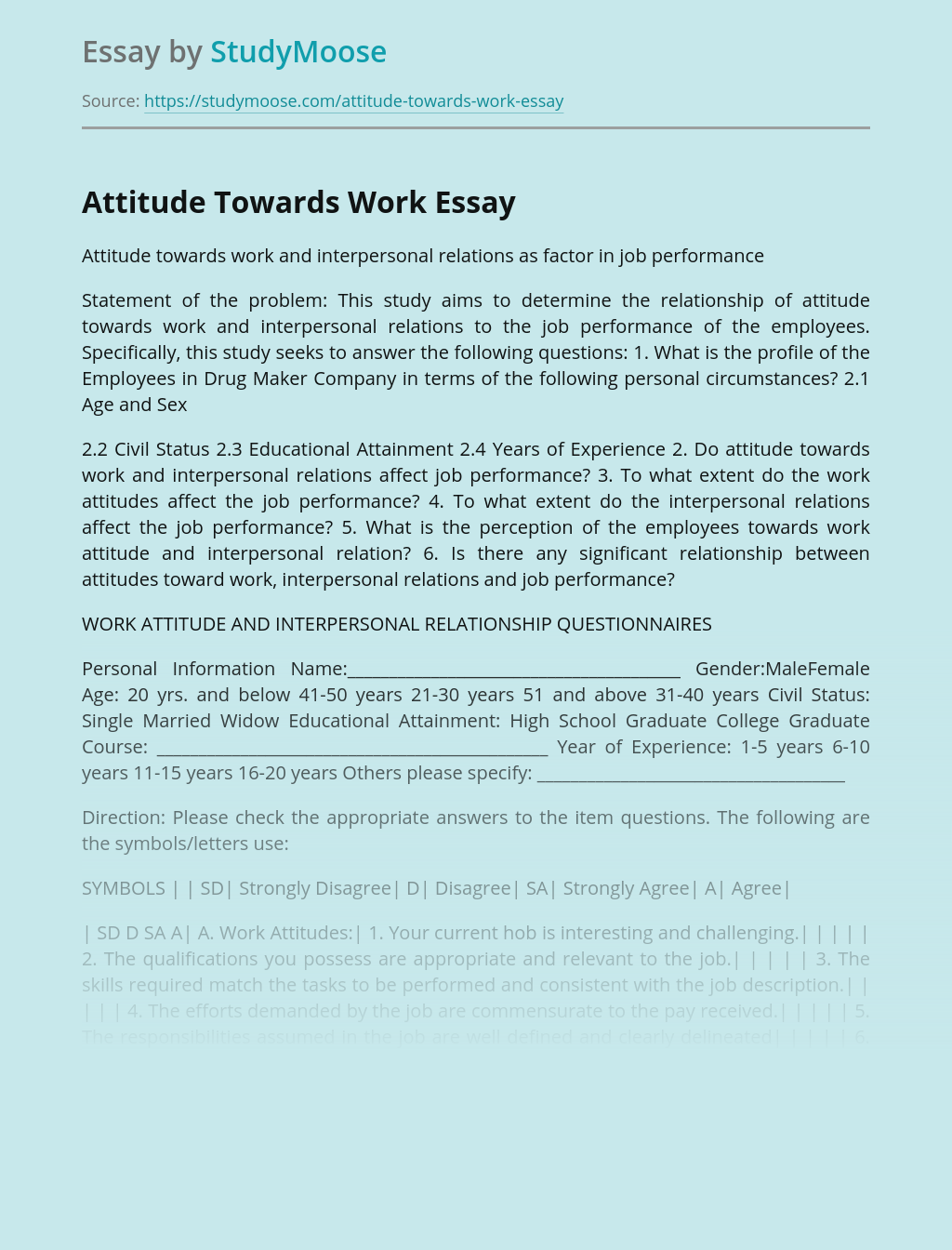 Attitude Towards Work