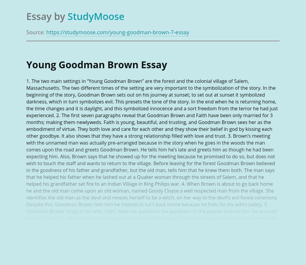 Young Goodman Brown Scenes Analysis
