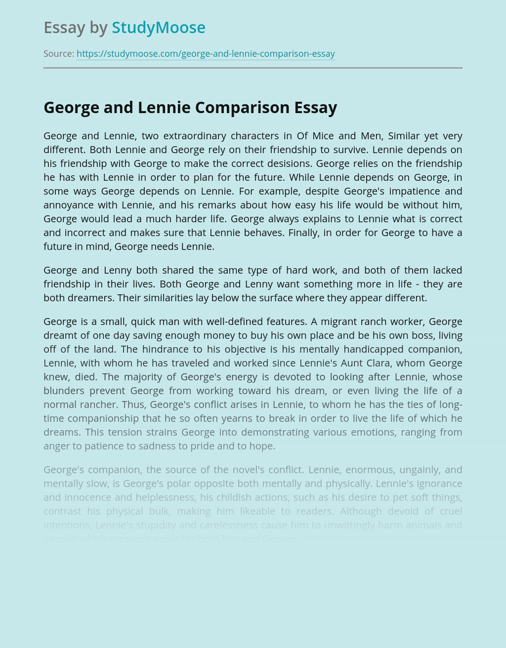 George and Lennie Comparison