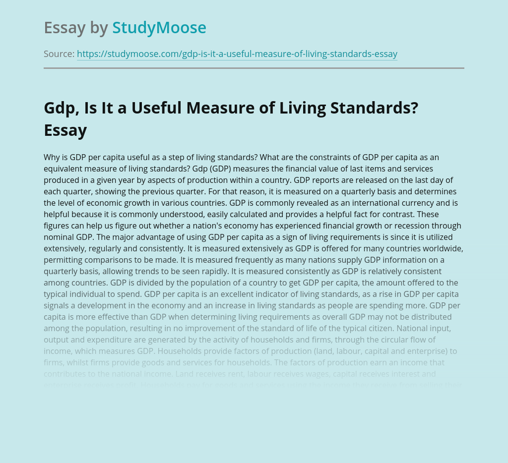 Role of Gdp Measure