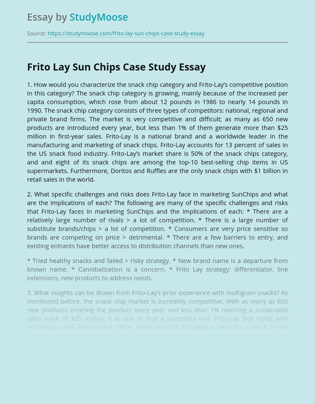 Frito Lay Sun Chips Case Study