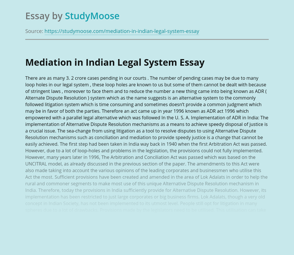 Mediation in Indian Legal System