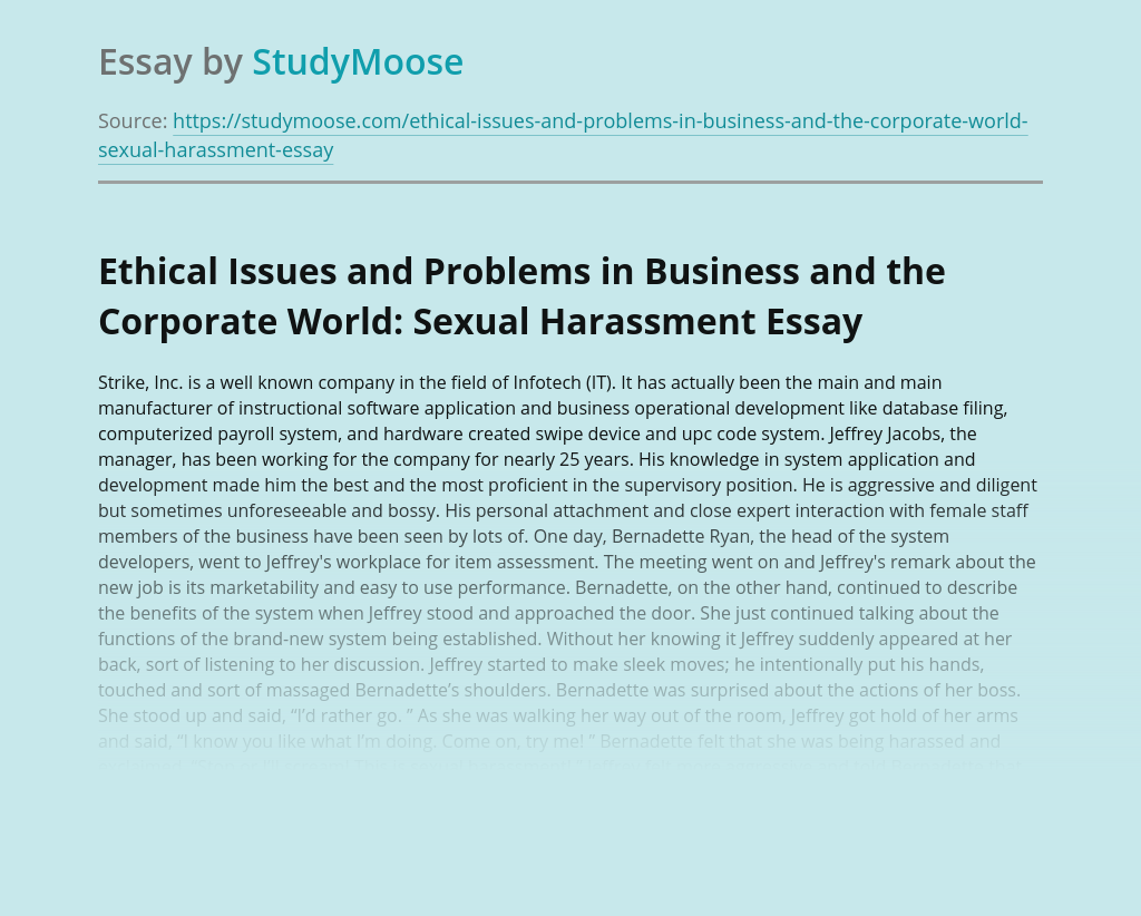 Ethical Issues and Problems in Business and the Corporate World: Sexual Harassment