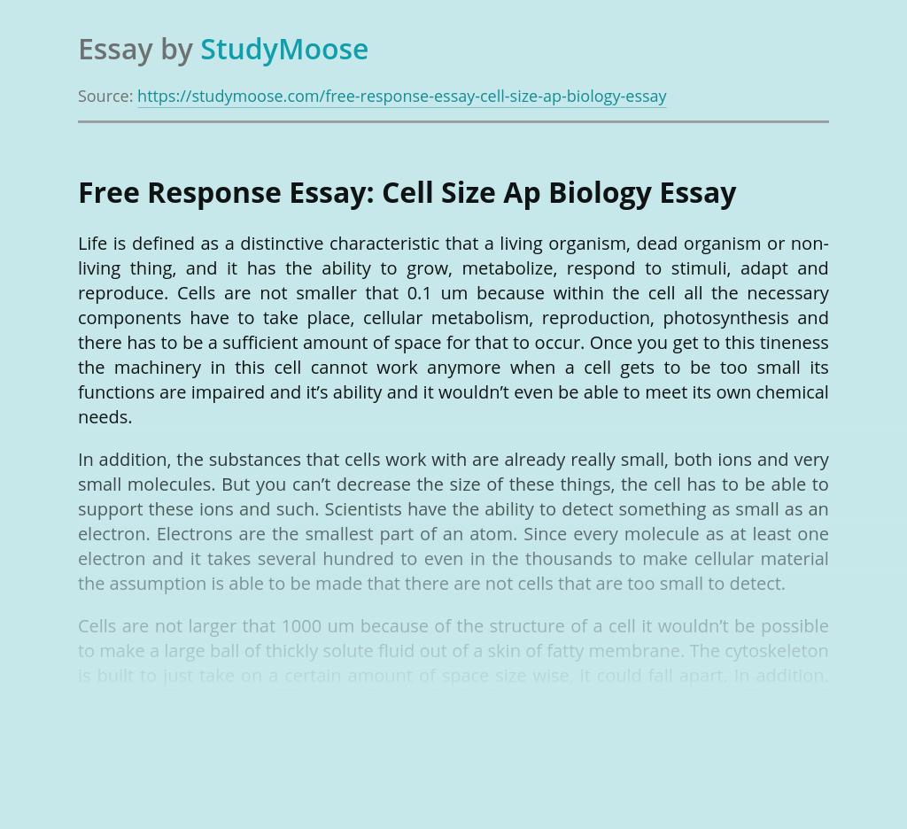 Free Response Essay: Cell Size Ap Biology