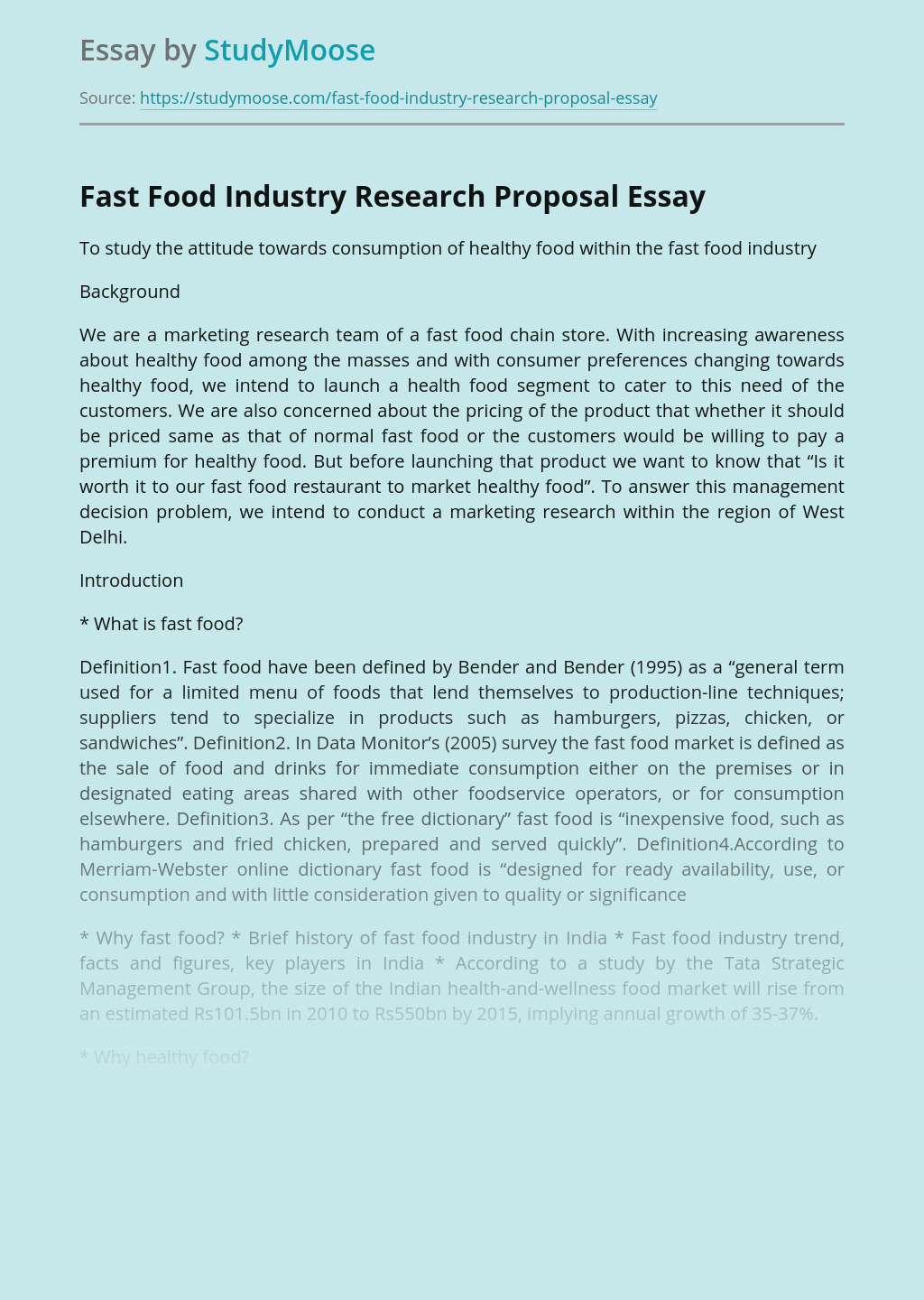 Fast Food Industry Research Proposal