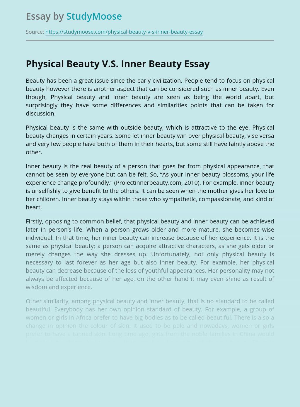 Physical Beauty V.S. Inner Beauty