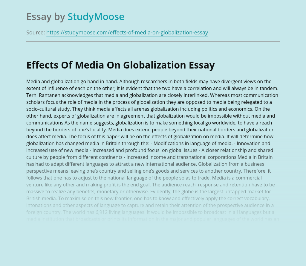 Effects Of Media On Globalization