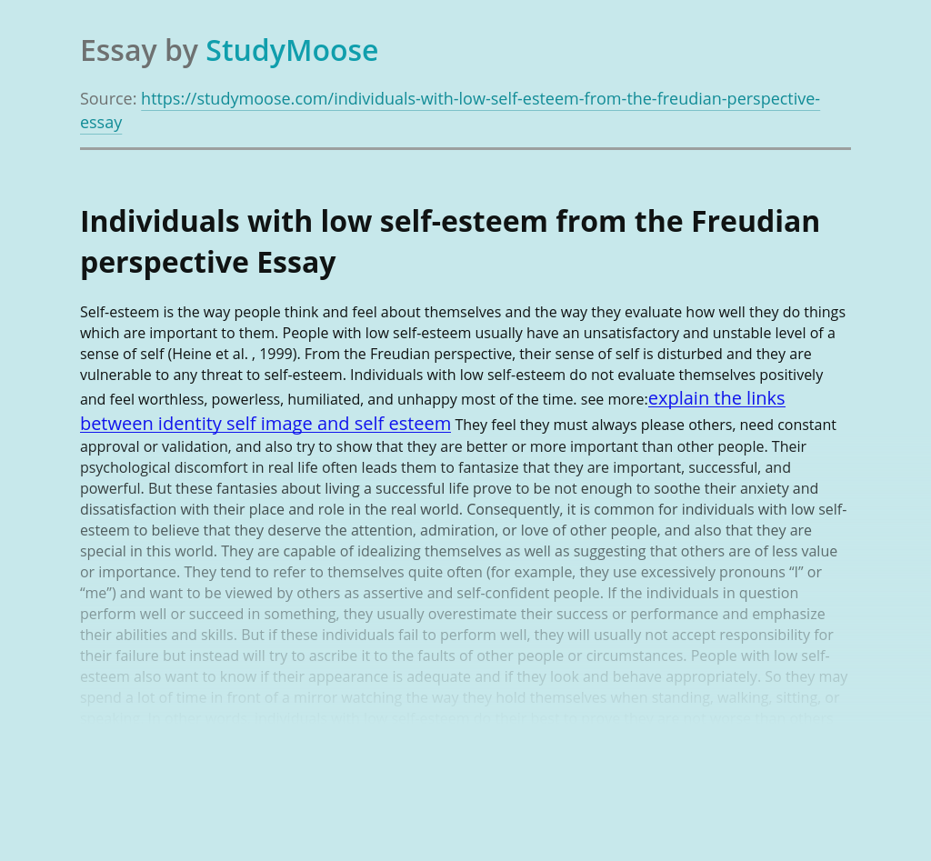 Individuals with low self-esteem from the Freudian perspective