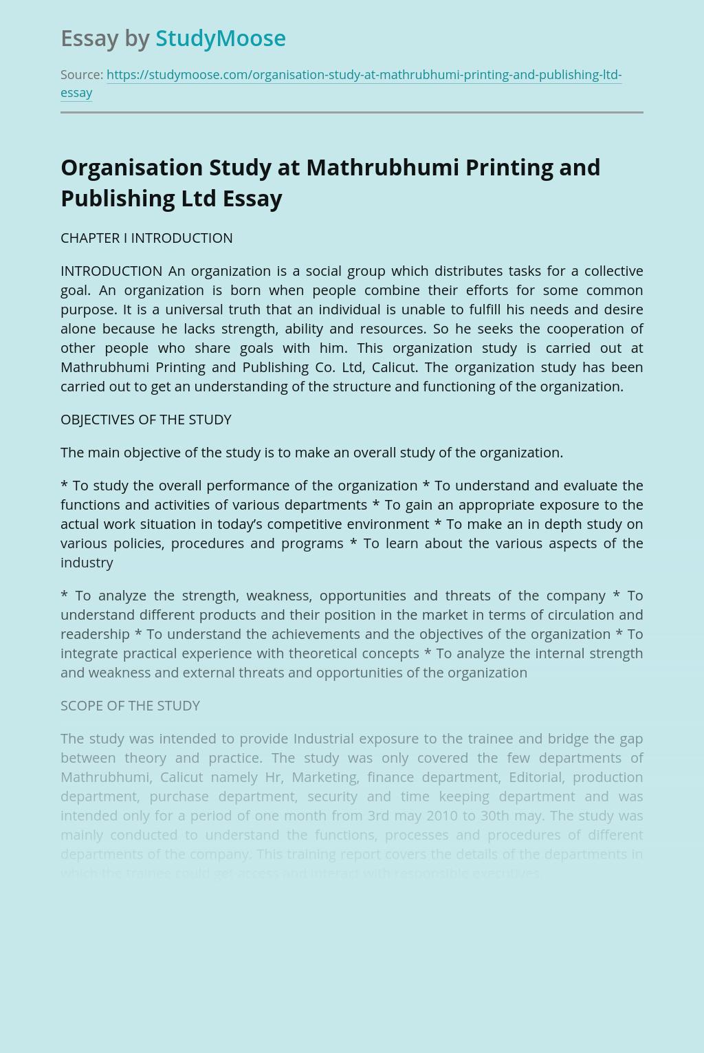 Organisation Study at Mathrubhumi Printing and Publishing Ltd