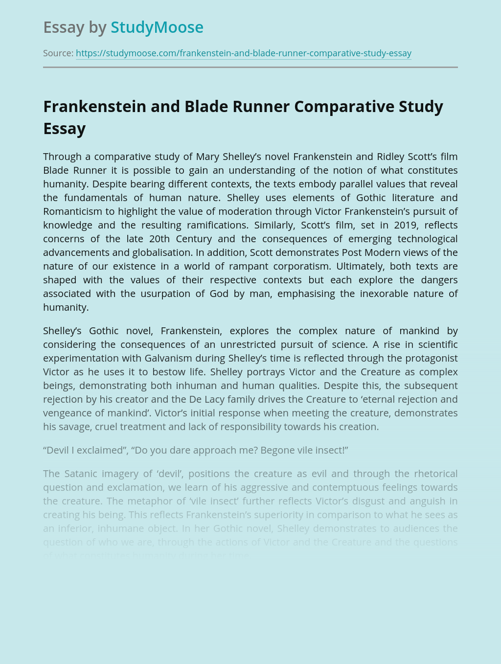 Frankenstein and Blade Runner Comparative Study