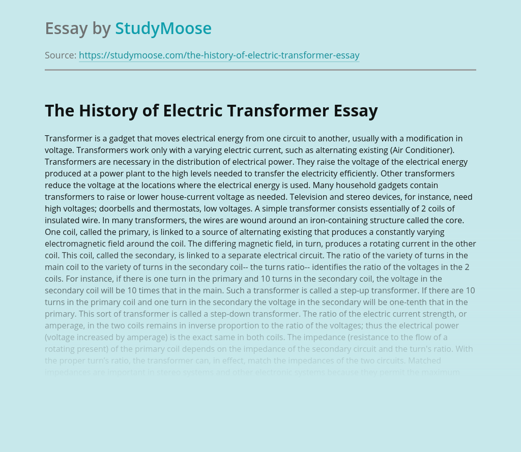 The History of Electric Transformer
